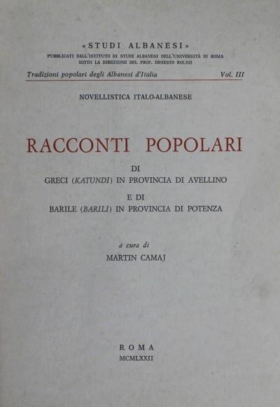 Racconti popolari di Greci (Katundi) in provincia di Avellino e di Barile (Barili) in provincia di Potenza