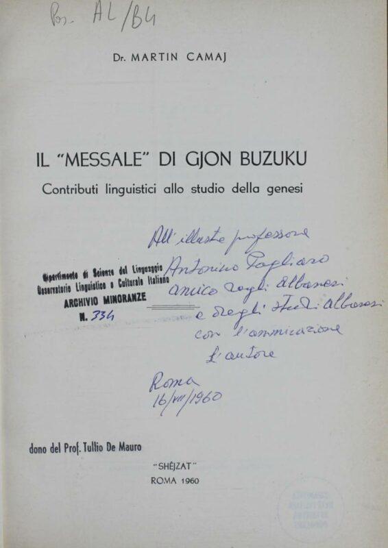 """Il """"Messale"""" di Gjon Buzuku"""