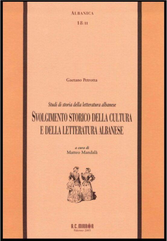 Svolgimento storico della cultura e della letteratura albanese